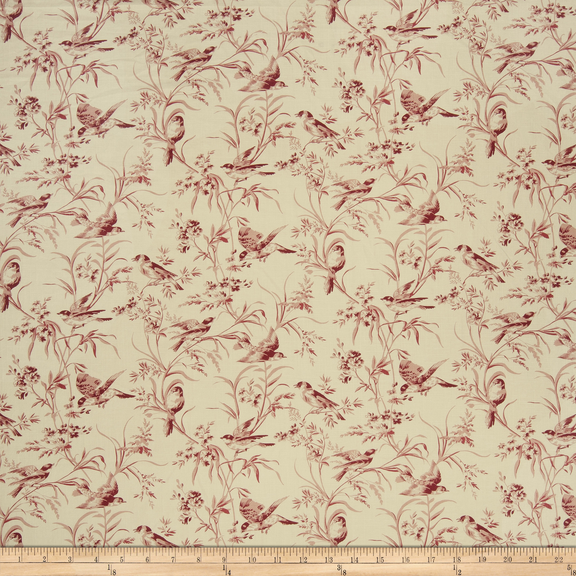 French General Aviary Toile Linen Rouge