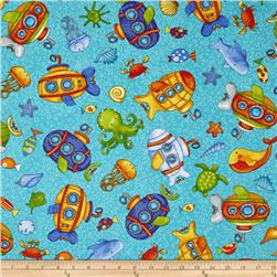 Baby Zoom Submarine Tossed Sea Creatures Teal