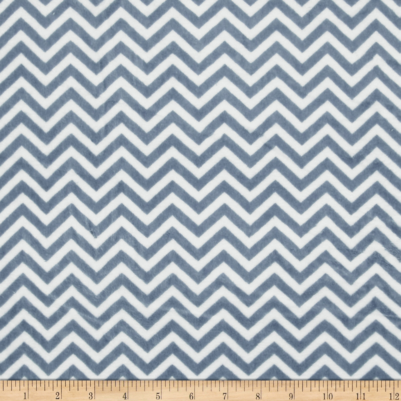 Minky Cuddle Mini Chevron Denim Blue/White Fabric