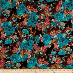 Stretch Soft Jersey Knit Floral Aqua/Brown/Black/Peach