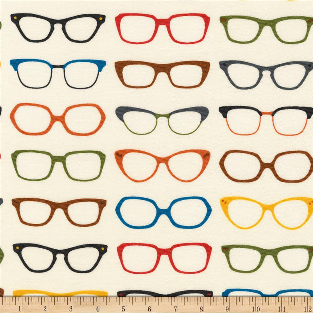 Kaufman Spectacular Slicker Glasses Ivory Fabric By The Yard