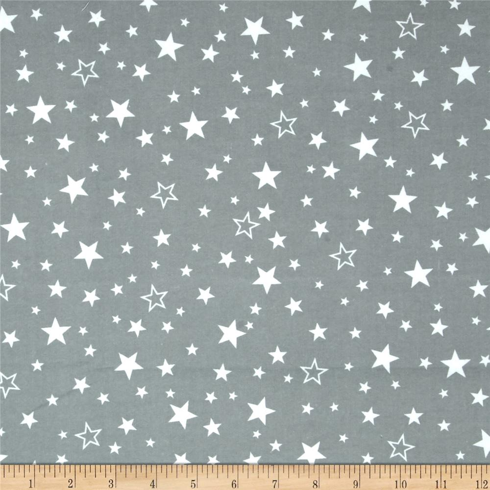 Kaufman cozy cotton flannel stars grey discount designer for Grey baby fabric