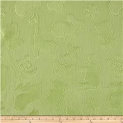 Minky Embossed Animal Crackers Spring Green