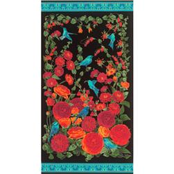 Timeless Treasures Arcadia Metallic Floral Panel Black