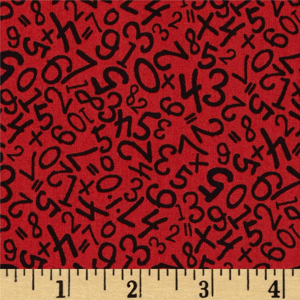 Back to School Scattered Numbers Red