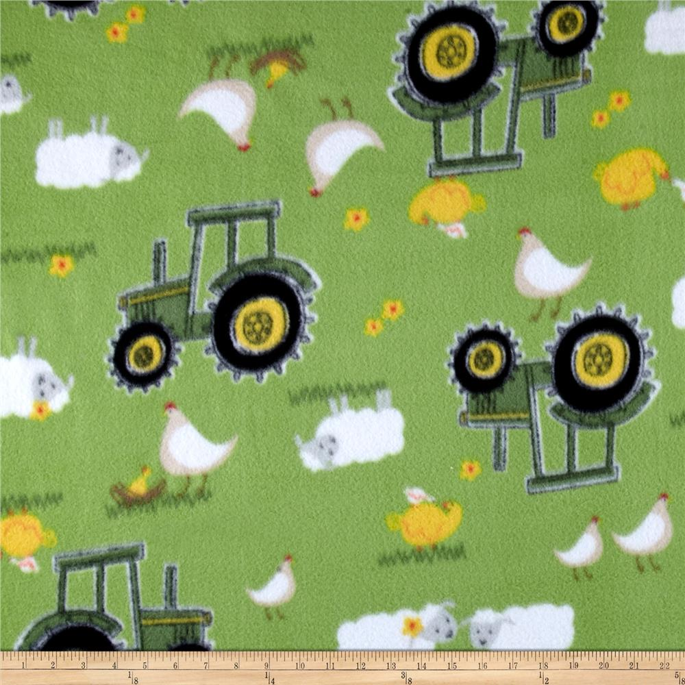 John deere nursery fleece sheep bird tractor green for Nursery monkey fabric