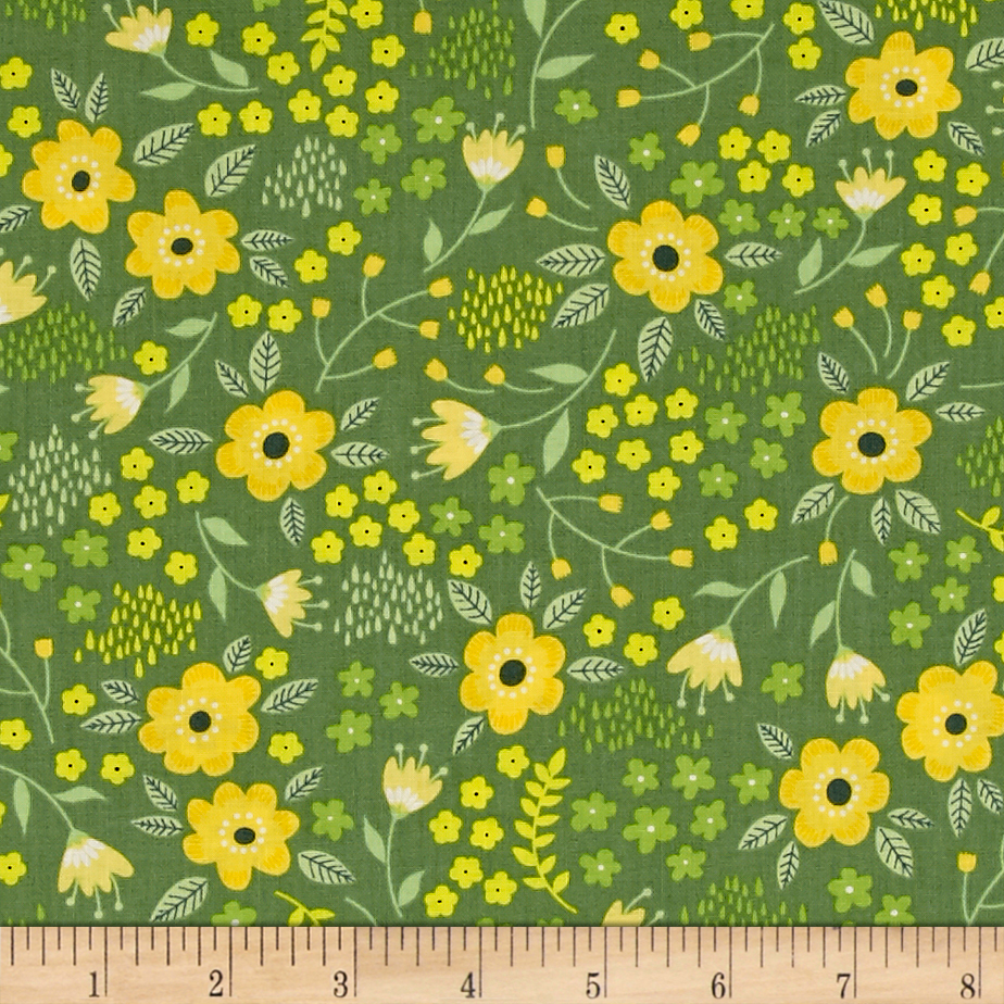 Bright Side Blossoms Dark Green Fabric by Eugene in USA