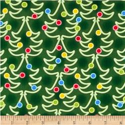 Kanvas Holiday Christmas Lights Holiday Trees Green Fabric