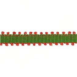 1/4'' Grosgrain Picot Edge Ribbon Green/Red