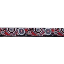 7/8'' Ribbon Circles & Waves Red/Black