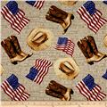 American Pride Heart Of American Flags & Boots Ecru