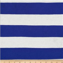 Yarn Dyed Jersey Knit Wide Stripe Oat/Royal
