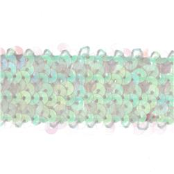 1 1/2'' Metallic Stretch Sequin Trim Crystal Aurora