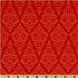 Vintage Vogue Damask Red