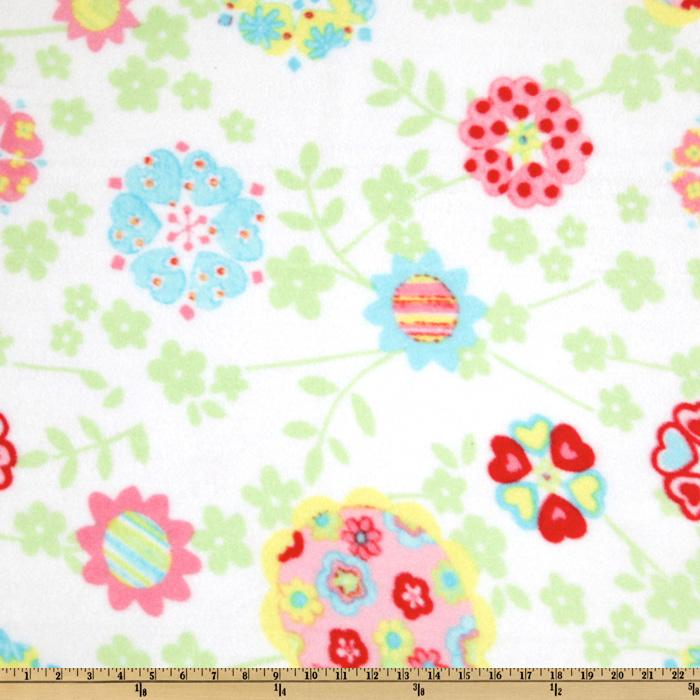 Fleece Pastel Flower White
