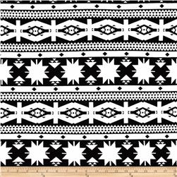 Cotton Lycra Jersey Knit Tribal Shapes White/Black