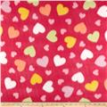 Fleece Print Happy Heart Fuchsia