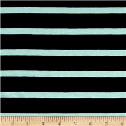 Jersey Knit Small Mint Stripe on Black