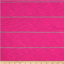 Designer Stretch Yarn Dyed Slub Jersey Knit Stripes Hot Pink/Grey
