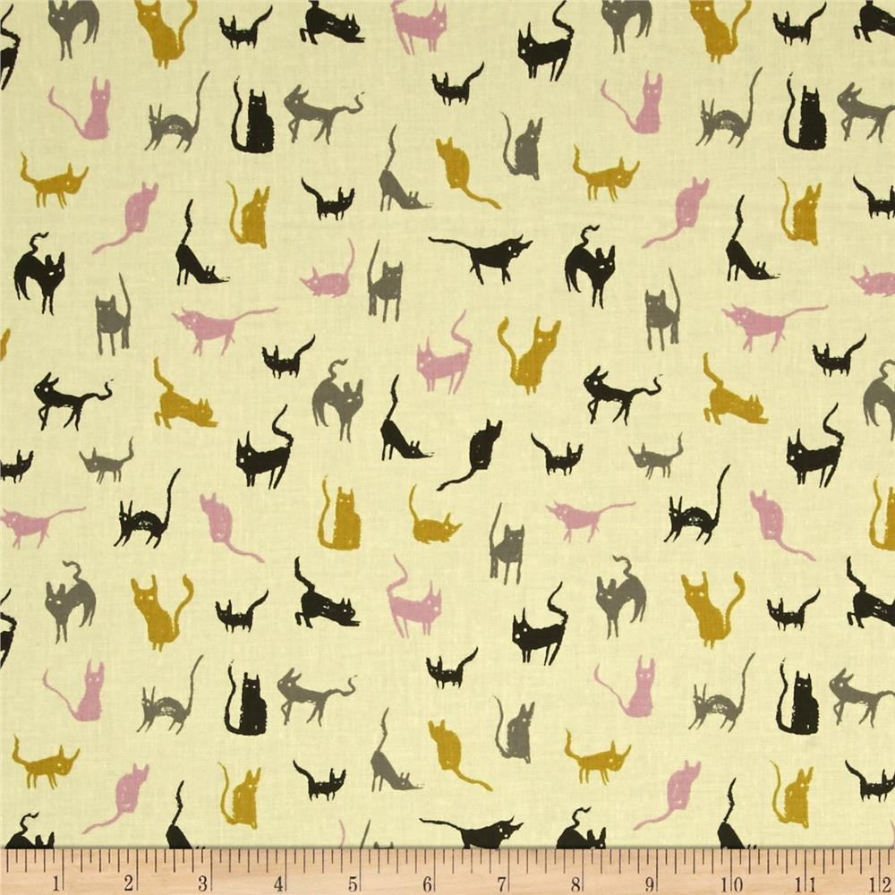 Cotton + Steel Spellbound Cats Maize