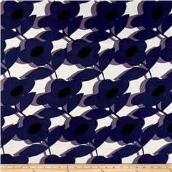 Rayon Challis Large Flower Print Purple/White/Black