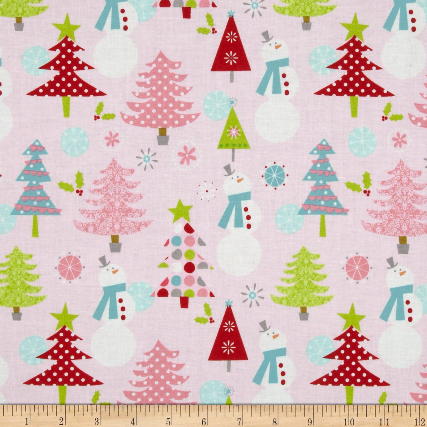Riley Blake Christmas Basics Main Pink Fabric