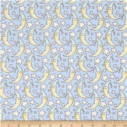 Lullaby Sheep Sleepy Moon Flannel Sky/Green