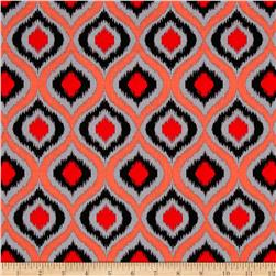 Poppies In Bloom Red Ikat Red