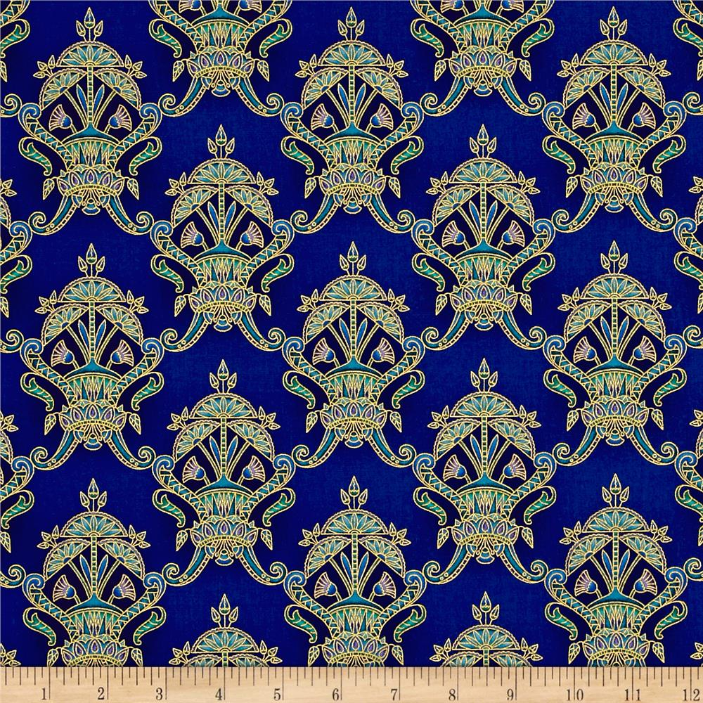 Kaufman Valley of the Kings Metallic Small Medallion Jewel Fabric