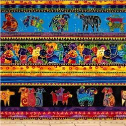 Laurel Burch Dogs & Doggies Metallic Repeating Stripe Multi