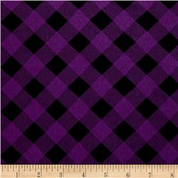 Printed Jersey Knit Black Checker Plaid on Purple