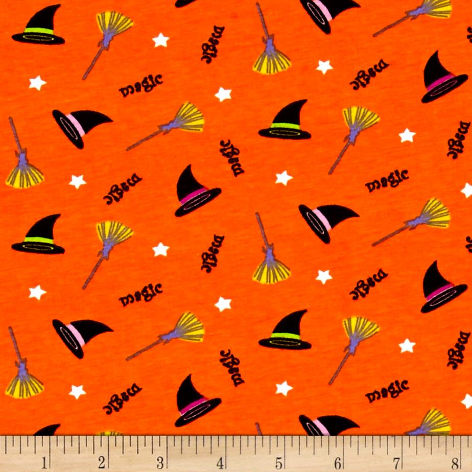 Cotton Spandex Jersey Knit Magic Brewing Halloween Grey Multi Fabric
