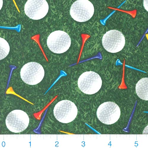 Timeless Treasures Golf Balls & Tees Green Fabric