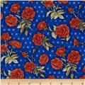 American Beauty Tossed Roses with Stars Blue
