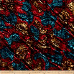 Telio Stretch Velvet Burnout Floral Black/Red/Blue/Yellow