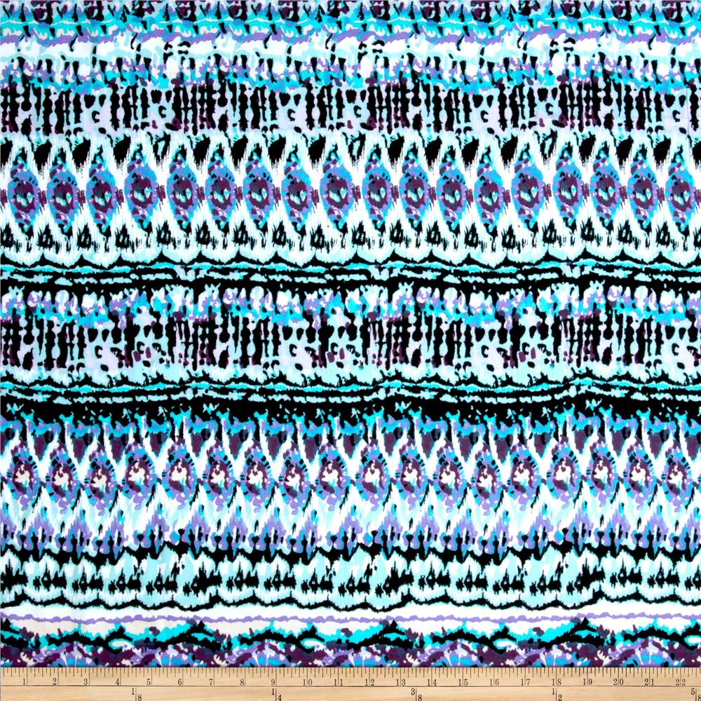 Rayon Challis Abstract Black/Aqua/Lilac