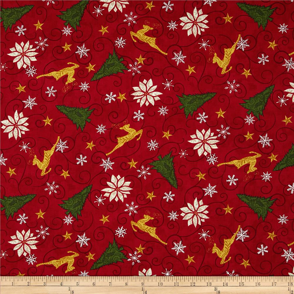 Moda Christmas Countdown Holiday All-Over Berry Red
