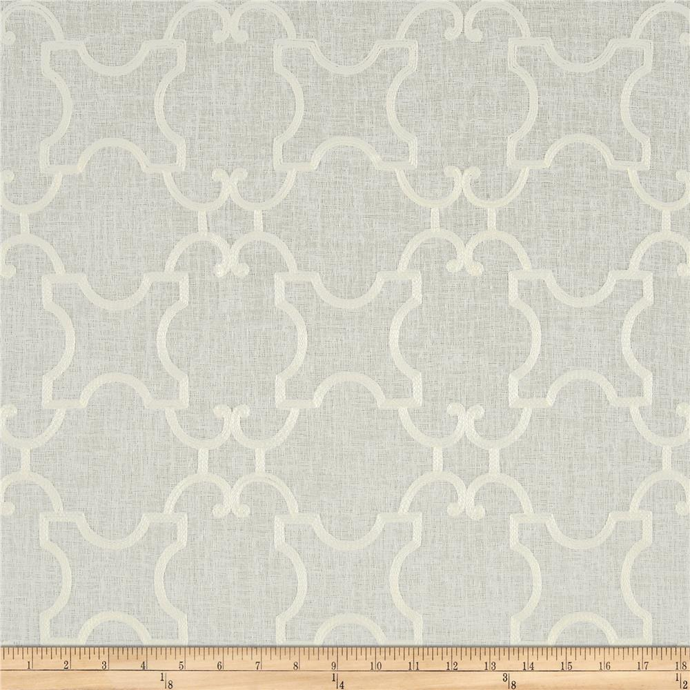 World Wide Faux Linen Sheer Marlee White/White Fabric By The Yard