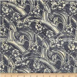 Bali Batiks Handpaints Art Deco Floral Smoke Fabric