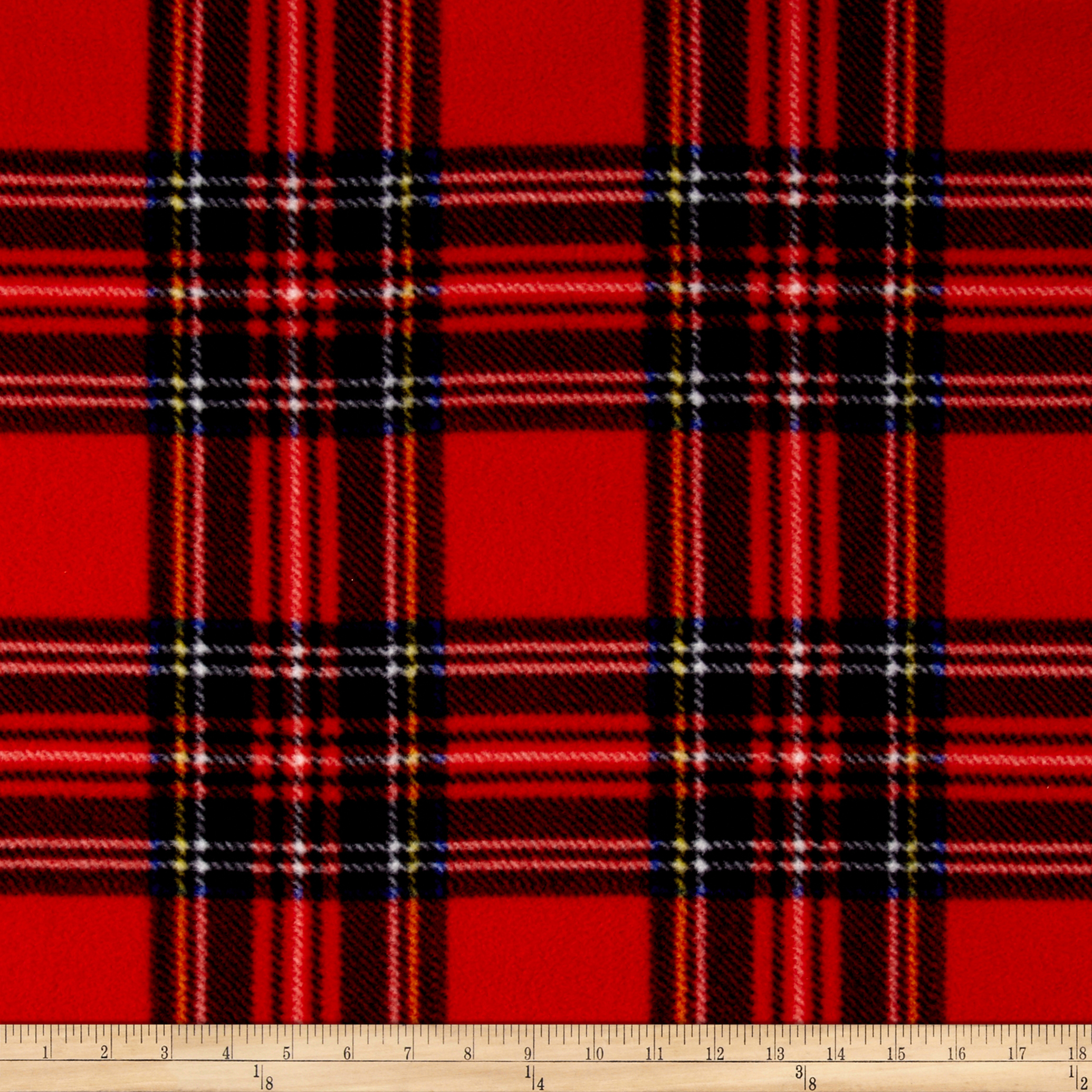 Image of Winter Fleece Stewart Plaid Red Fabric