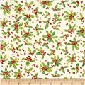 Laurel Burch Enchantment Metallic Holly & Berries Cream