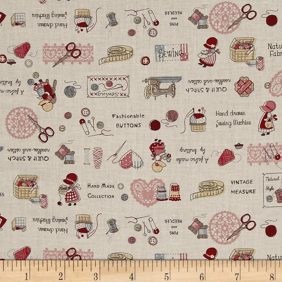 Lecien little heroines sewing notions cream discount for Cheap sewing fabric