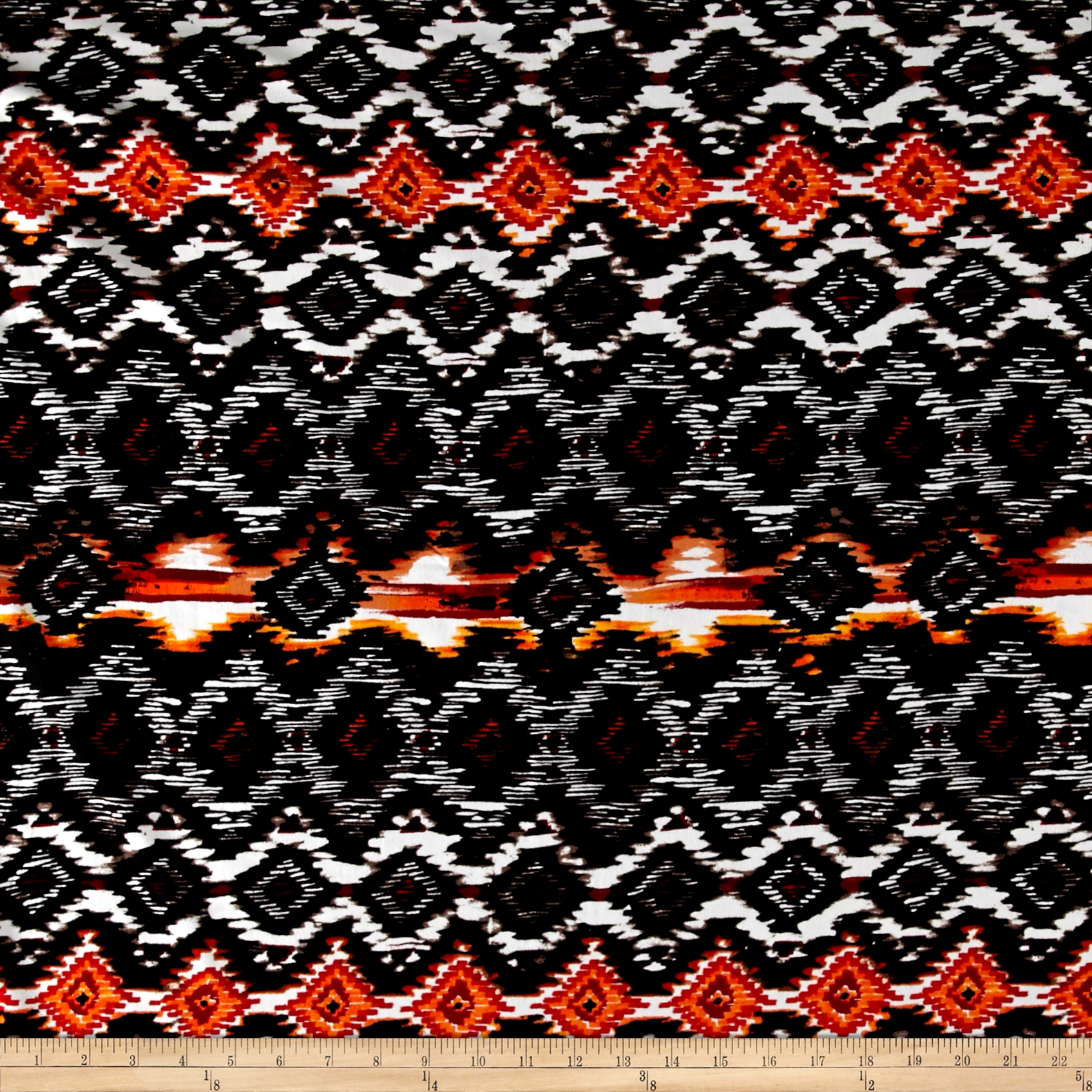 Ikat Diamond Span Jersey Knit Black/Orange Fabric