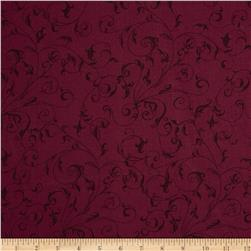 "110"" Wide Quilt Back Filigree Burgundy"