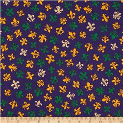 Fleur De Lis Metallic Gold & Green on Purple