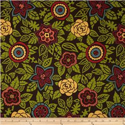 Nomad Large Floral Brown Fabric