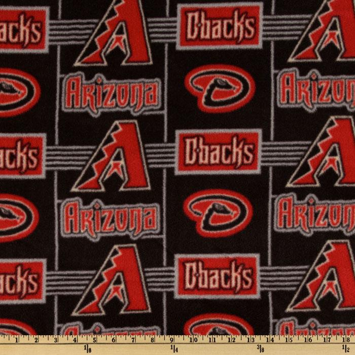MLB Fleece Arizona Diamondbacks Red/Black/Grey Fabric By The Yard