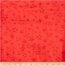 Minky Embossed Star Cuddle Scarlet