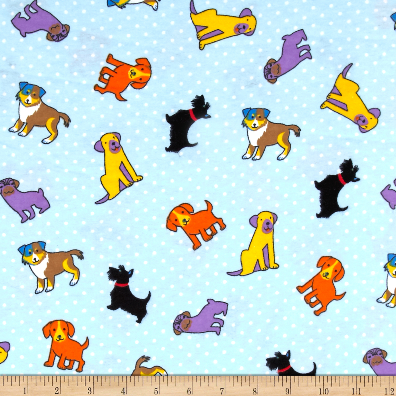 Flannel Rescue Dog Blue Fabric