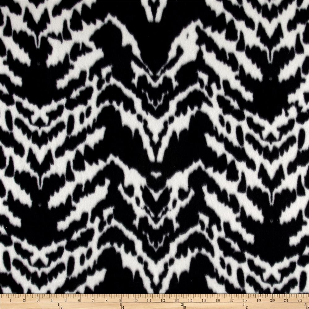 Polar Fleece Print Aberdeen Black White Fabric By The Yard